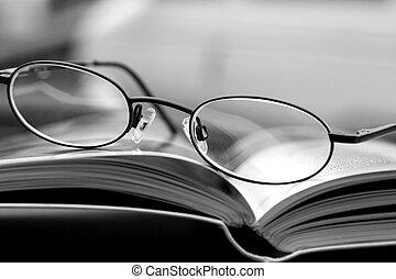 negro, revista, -, blanco, anteojos