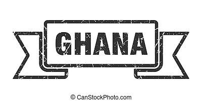 negro, ribbon., señal, grunge, ghana, banda