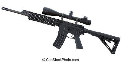 negro, rifle