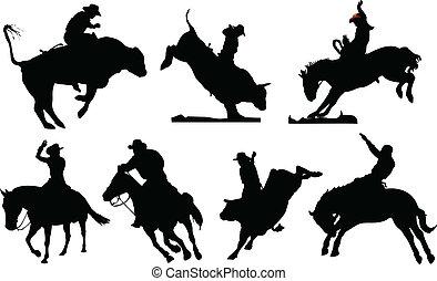 negro, rodeo, siete, silhouettes.