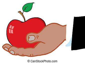 negro rojo, manzana, llevar a cabo la mano