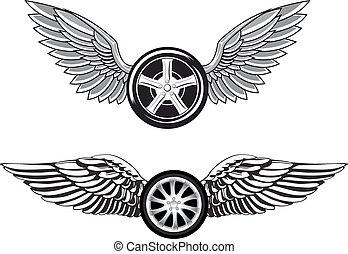 negro, ruedas, con, rápido, gris, alas