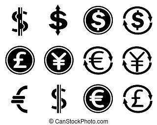 negro, símbolos moneda, iconos, conjunto