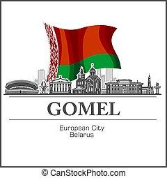 negro, silhouette., perfil de ciudad, vector, -, belarusian, blanco, illustration., gomel