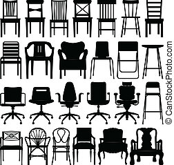 negro, silla, conjunto, silueta