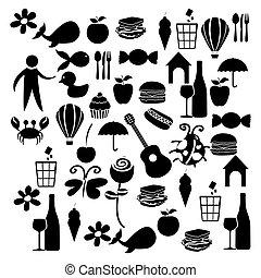 negro, silueta, conjunto, elementos, vida diaria, icono