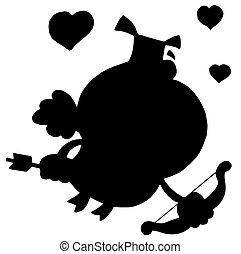 negro, silueta, cupido, cerdo