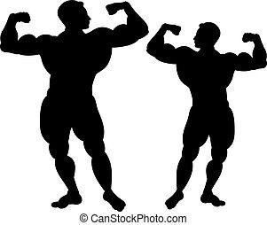 negro, silueta, de, dos, bodybuilders., blanco, fondo.