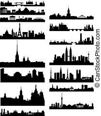 negro, silueta, de, famoso, ciudades