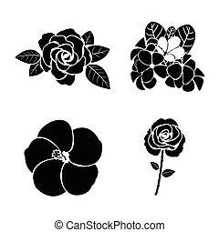 negro, silueta, de, flor, conjunto