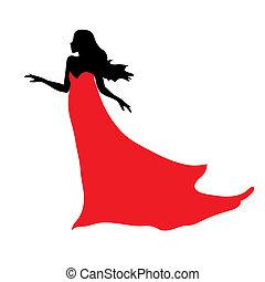 negro, silueta, de, mujer hermosa, en, vestido rojo