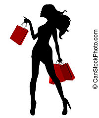 negro, silueta, de, mujer joven, y, rojo, bolsas
