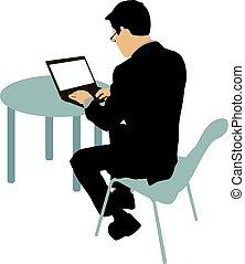 negro, silueta, hombre que sienta, atrás, computadora, en, un, fondo blanco