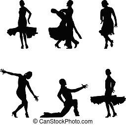 negro, siluetas, bailarines, conjunto