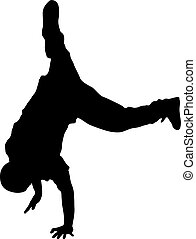 negro, siluetas, breakdancer, en, un, fondo blanco