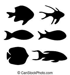 negro, siluetas, de, fish-, vector, ilustración