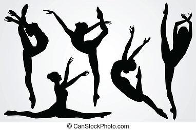 negro, siluetas, de, un, bailarina