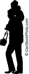 negro, siluetas, familia , blanco, fondo., vector, ilustración
