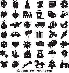 negro, siluetas, juguetes