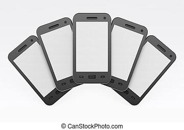 negro, smartphones, blanco, plano de fondo, 3d, render