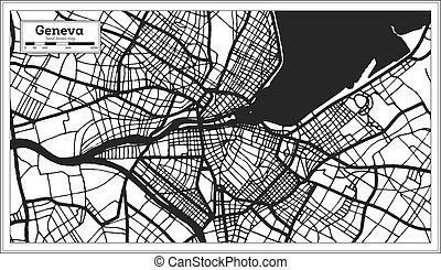 negro, style., blanco, retro, suiza, ginebra, mapa ciudad, color