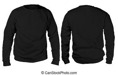 negro, suéter, largo, sleeved, camisa, mockup, plantilla