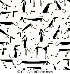 negro, su, perros, seamless, plano de fondo, diseño, ...