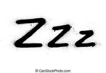 negro, sueño, zzz, encima, o, señal, rociado, blanco, ...