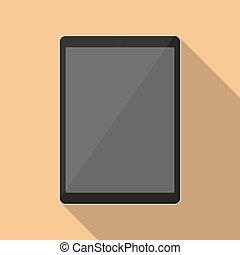 negro, tableta, en, un, plano, diseño, con, largo, sombra