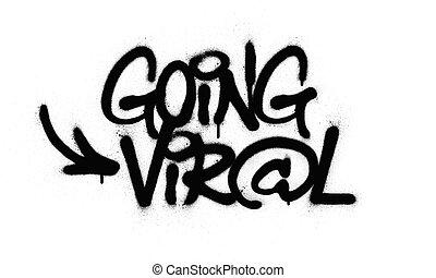 negro, texto, encima, rociado, yendo, blanco, viral, grafiti
