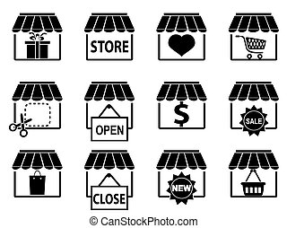 negro, tienda, iconos, conjunto