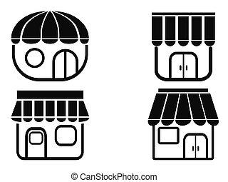 negro, tienda, iconos
