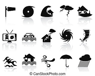 negro, tormenta, iconos, conjunto