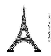 negro, torre, eiffel, silueta