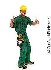 negro, trabajador construcción
