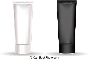 negro, tubo, crema, blanco