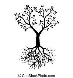 negro, vector, árbol, illustration., roots.