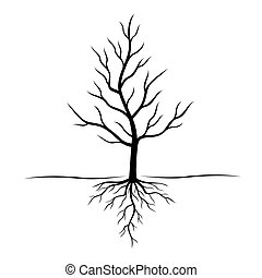 negro, vector, árbol, illustration., roots.