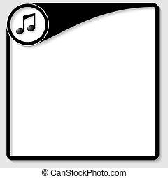 negro, vector, caja, para, cualesquiera, texto, con, música, icono