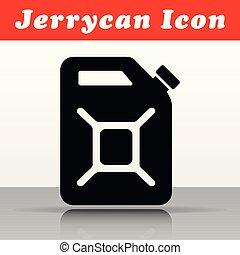 negro, vector, diseño, jerrycan, icono