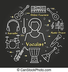negro, -, vector, música, bandera, lineal, niña, vocalista