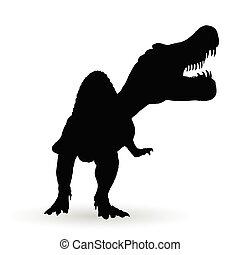 negro, vector, silueta, spinosaurus