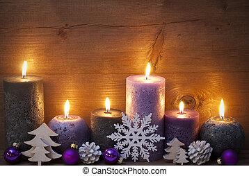 negro, velas, decoración de navidad, puprle, ornamento