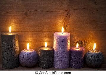negro, velas, decoración de navidad, puprle