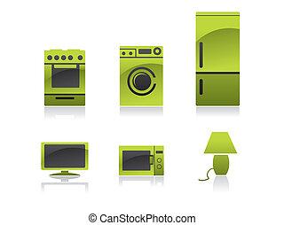 negro, verde, casa, -, iconos