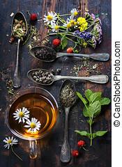 negro, verde, y, té herbario