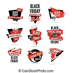 negro, viernes, sale., vector, ilustración
