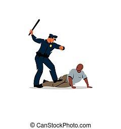 negro, violencia, policía, offender.