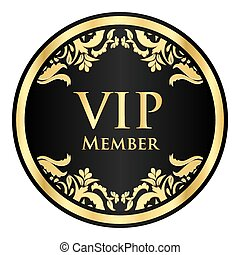 negro, vip, miembro, insignia, con, dorado, vendimia, patrón