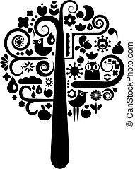 negro y blanco, árbol, con, ecológico, iconos